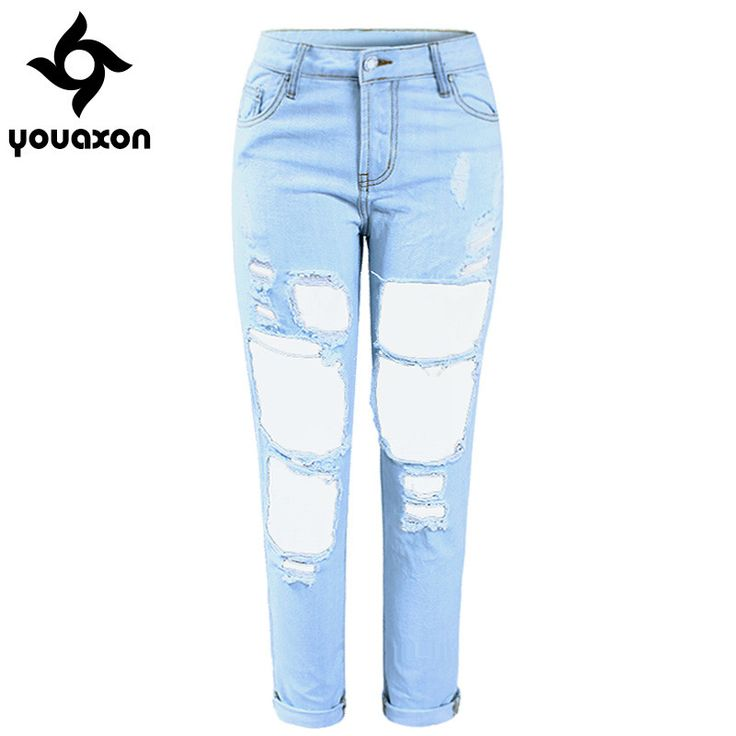 Women`s Boyfriend Torn Holes Mid Waist Light Blue True Denim Capris For Women Ripped Jeans