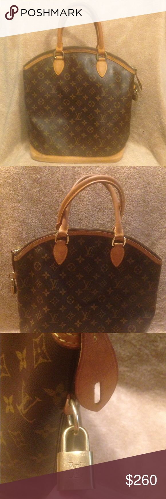Louis Vuitton Monogram Lockit Vertical Tote 💯 Authentic Louis Vuitton Brown Monogram Canvas Lockit Vertical Tote Bag. Trimmed with leather and features two rolled top handles and zip closure. Date code: SD0076. Handle Length: 14, Handle Drop: 4.625, Height 13.75, Length: 11.15, Width: 6.375. Interior features: Flat pocket and cell phone pocket. The only mark goes nearly unnoticed, but is shown in the last picture. Gently used but I plan to sell fast so the price is jaw dropping😱 I luv it…
