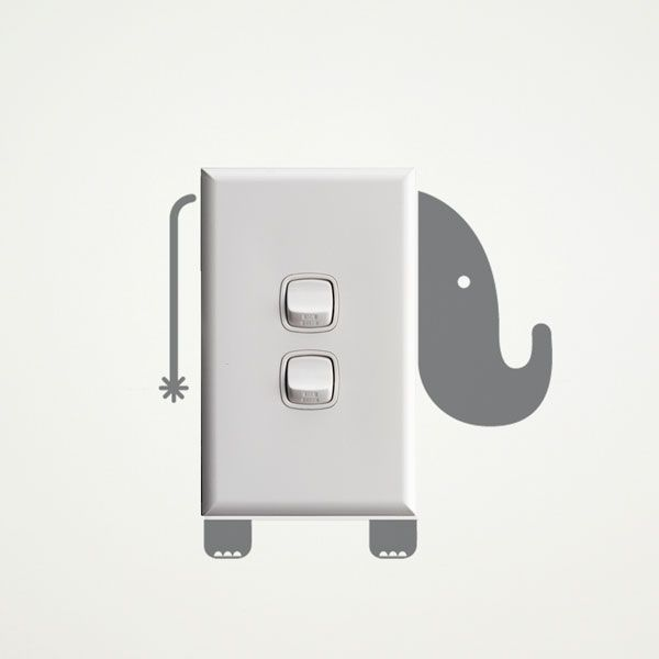 Elephant wall sticker for light switches