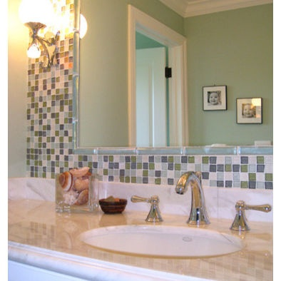 Bathroom mirror tiles ideas with fantastic trend eyagci elegant bathroom with blue subway tiles and attractive pair of mirrors freerunsca Image collections