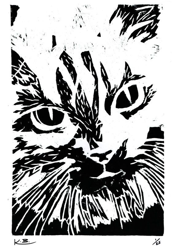 Cat Woodcut Print by Kelly Blake.  Limited Edition of 25, Signed by Artist.