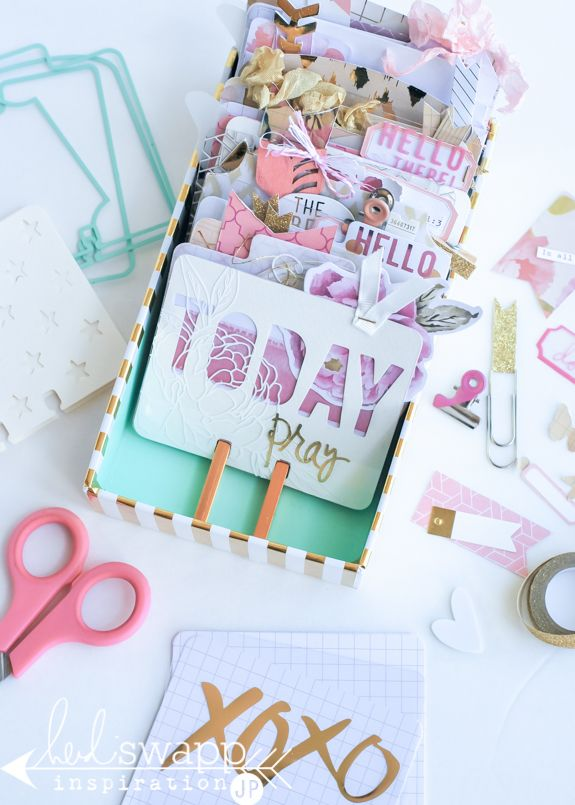 Memory Dex Prayer Box | Heidi Swapp   Using the Wanderlust Memory Dex Tray to create a box full of prayer and photo cards perfect for a desktop remembrance.  @jamiepate for @heidiswapp