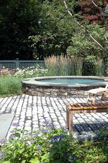 spa garden - exchange stone for brick and slate