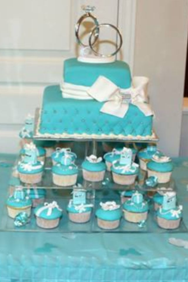 Tiffany Style Bridal Shower Cake And Cupcakes For Friends Cousin