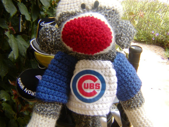 Sock Monkey Golf Club Cover Chicago Cubs or Your by pillowtalkswf, $40.00