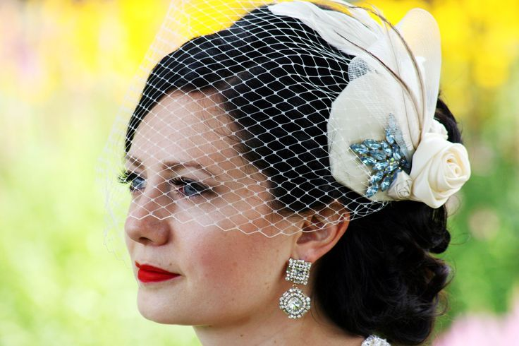 Wedding hair and make-up, vintage with birdcage veil made by Embellish