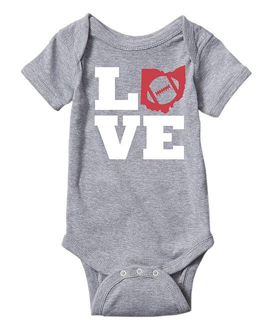 Athletic Heather 'Love' Ohio Football Bodysuit - Infant