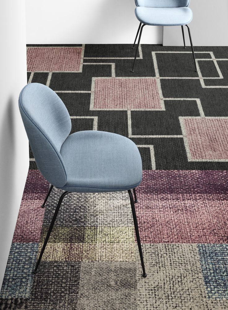 From Denmark's Ege Carpets, a company that is going through a kind of house cleaning/reinvention, Roman Tradition (top) and Dim Rewoven.