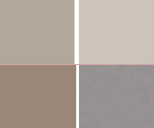 WARM GREYS: Top L: Sandy Hook Gray HC-108 by Benjamin Moore. Top R: Revere Pewter HC-172 by Benjamin Moore. Bottom L: Charleston Gray 243 by Farrow  Ball. Bottom R: Dog's Ear from Eve Ashcraft's The Essential Palette, from Fine Paints of Europe