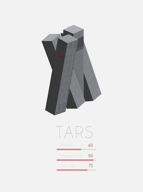 """Everybody good? Plenty of slaves for my robot colony?"" - TARS, Interstellar. Maybe my favourite Robot design, right up there with GERTY."