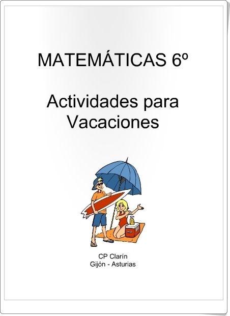 Actividades para Vacaciones del área de Matemáticas de 6º nivel de Educación…