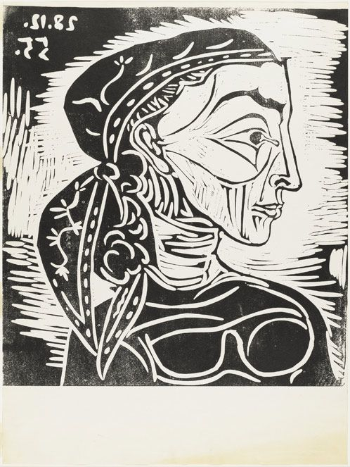 Pablo Picasso, Profile of Jacqueline With a Scarf. 1955, Linoleum cut, Composition: 55.2 x 50.2 cm, Acquired through the generosity of Mrs. Edmond J. Safra and the General Print Fund, © 2010 Estate of Pablo Picasso / Artists Rights Society (ARS), New York.