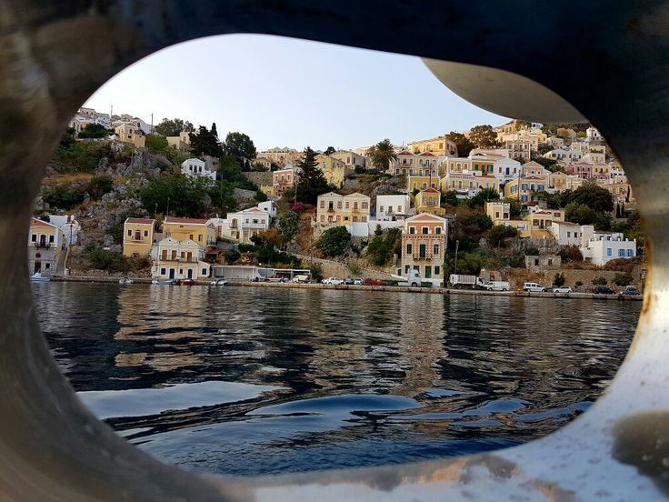 View of Greek island Symi from the cabin window