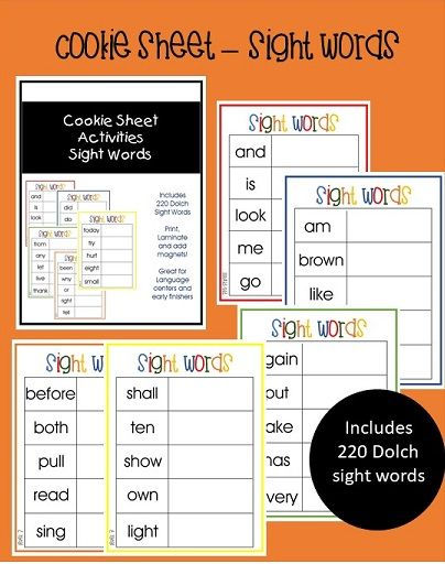 Cookie Sheet Sight Word Pack! Includes 220 Dolch sight words Pre