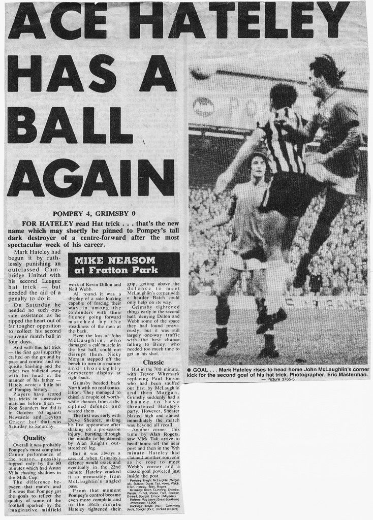 Portsmouth 4 Grimsby Town 0 in Nov 1983 at Fratton Park. Report from a newspaper #Div2