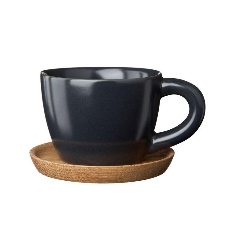 Höganäs Espressomugg med Träfat, Grå Matt - Front - Höganäs - RoyalDesign.se