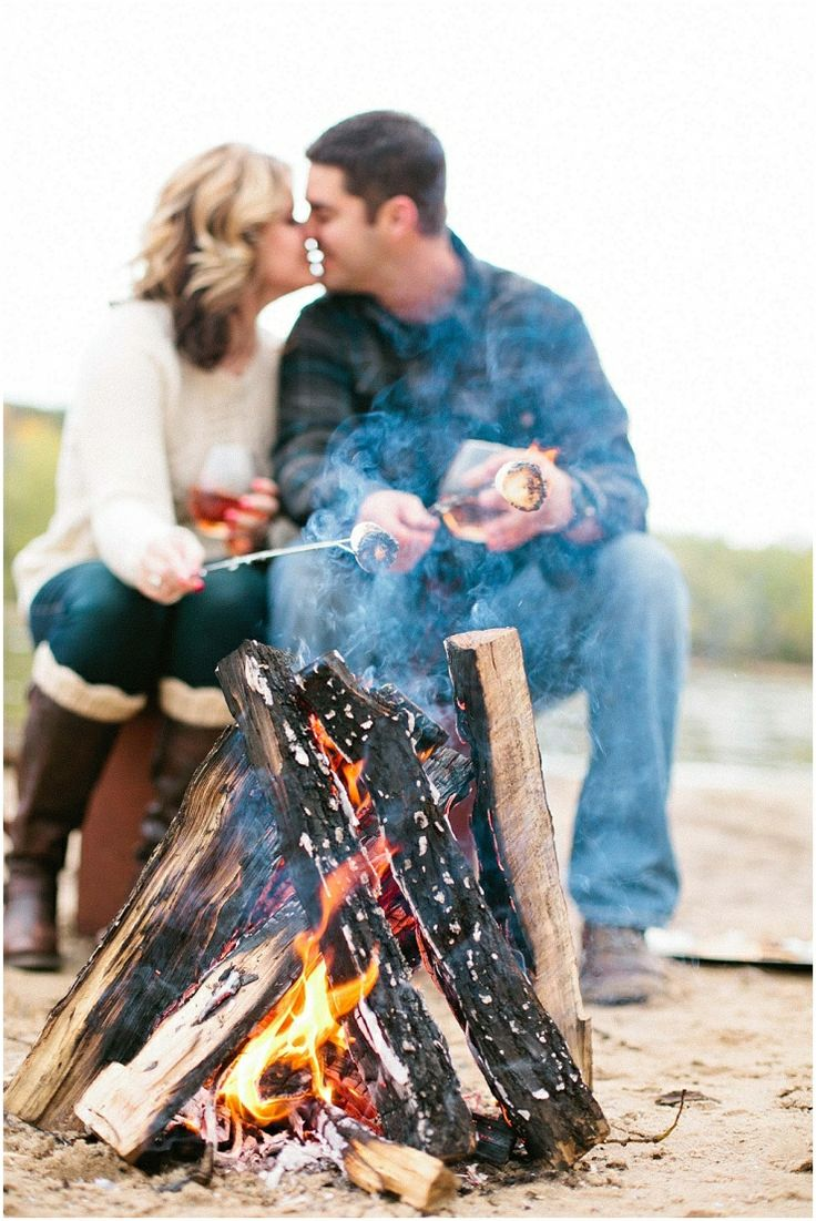 Fall engagement photos, Rustic engagement photos, campfire engagement photos…