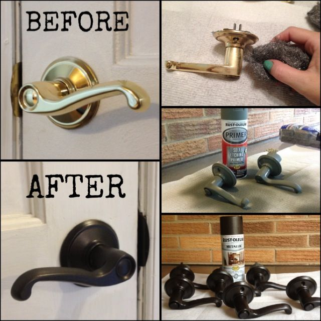 Refinished brass door knobs! 1) Buff with steel wool 2) Paint with non-etching primer 3) Spray with metallic black paint! Inexpensive upgrade! DIY
