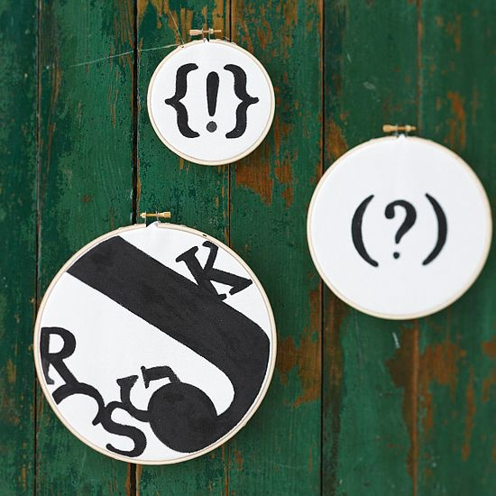 At your local crafts store, pick up a couple of embroidery hoops, a half-yard of white fabric (or use scraps you have around the house), a pack of scrapbook letters, black acrylic paint or a black marker.    When you get home, arrange the letters atop the white fabric. Gently trace the shapes with a pencil. Then fill in the shapes with a black marker or black acrylic paint. Stretch the fabric through an embroidery hoop and secure. Cut off extra fabric along the edges, then hang on the wallWall Decor, Decor Ideas, Diy Artworks, Around The House, Art Ideas, Diy Wall Art, Embroidery Hoops, Typography Art, Crafts
