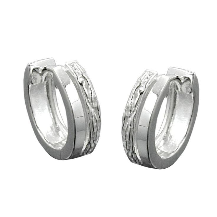 hoop earrings patterned silver 925