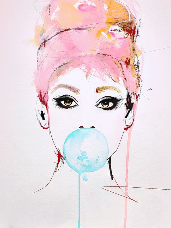 """Audrey"" Illustration portrait art print by Leigh Viner Inspired by MICHAEL MOEBIUS"