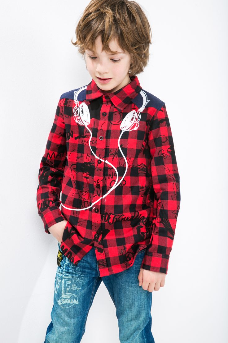 This red check shirt with a headphone print will keep any budding DJ happy! Comfortable and easy-care, it's a winner!