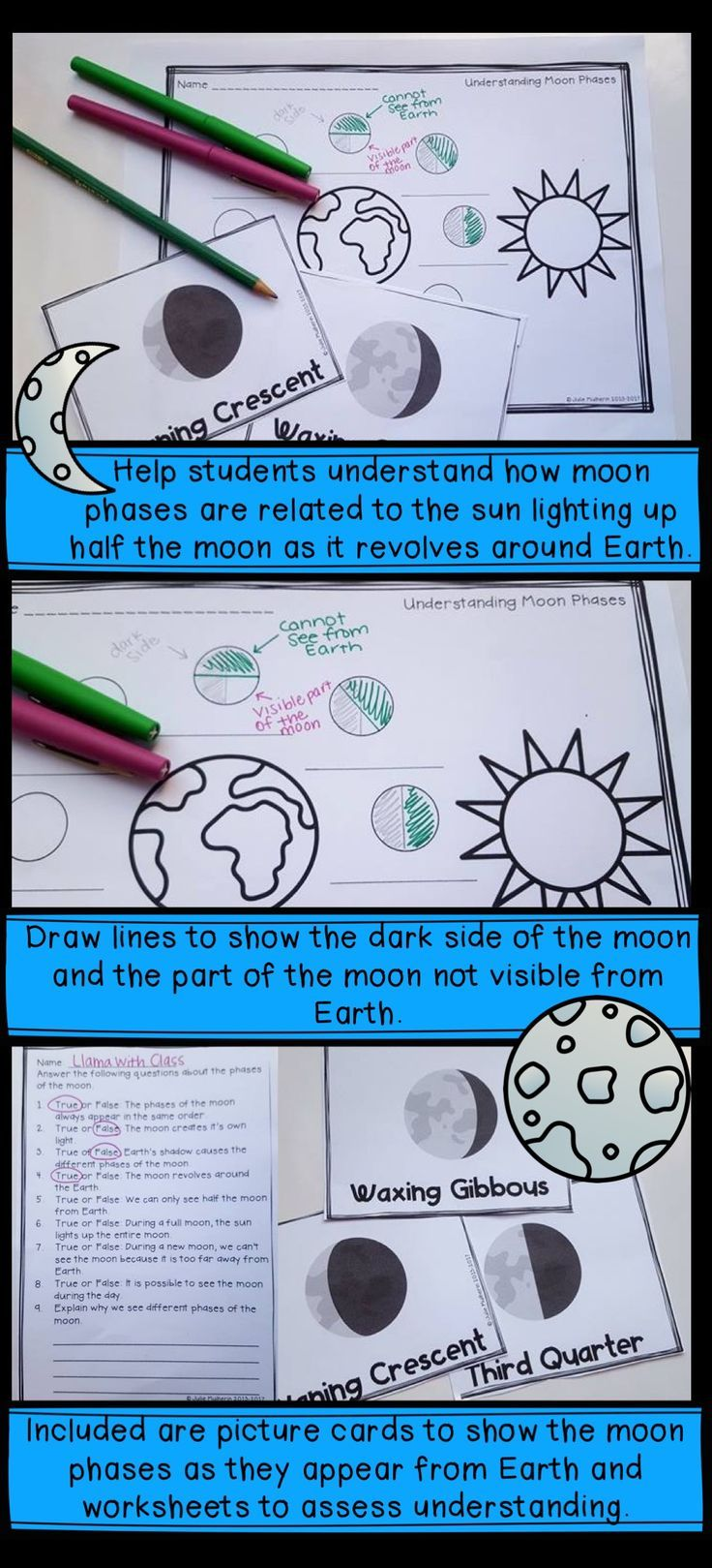 411 best upper elementary science ideas grades 3 6 images on great activity to help students understand moon phases it includes picture cards and worksheets for robcynllc Choice Image