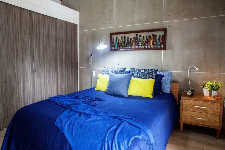Concepto Azulada - este espacio está inspirado en el descanso y en la combinación de texturas y colores con el color azul. Arq. Simón Tobón P.