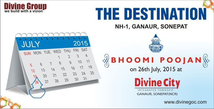 Bhoomi Poojan on 26th Jul 2015 at #DivineCity #THEDESTINATION NH-1, Ganuar,Sonepat.