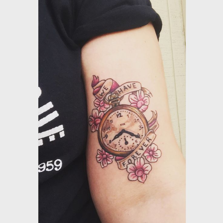 vintage clock floral tattoo