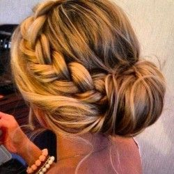 perfect side braid into bun. I really really want this hair due but I suck at doing hair ! :(:) .