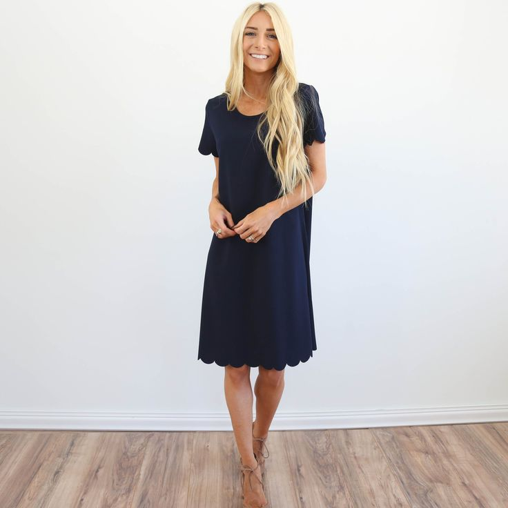 Adelia Navy Scalloped Dress