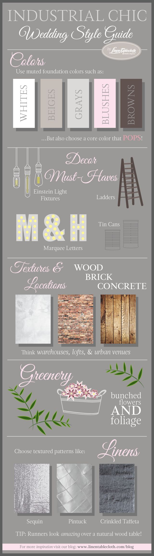 Industrial Chic Wedding Style Guide #infographic #wedding | LinenTablecloth Blog