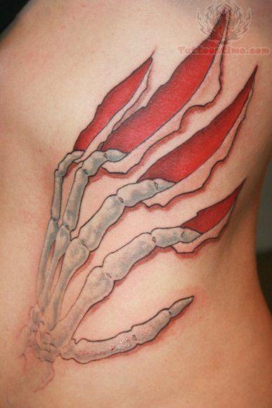 Skeleton Hand Scratch Tattoo On Body