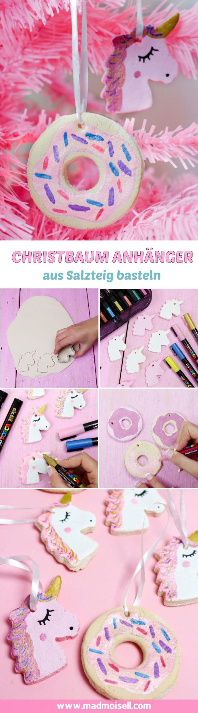 Einhorn Christbaum Anhänger lassen sich schnell und einfach selber machen: Klicke hier für zwei kreative DIY Anleitungen aus Salzteig und Acrylkugeln.
