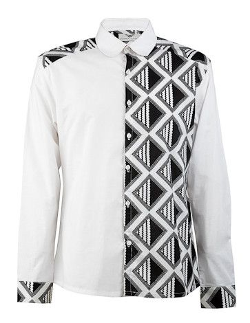 Side panel shirt-Black & White - OHEMA OHENE AFRICAN INSPIRED FASHION - 1