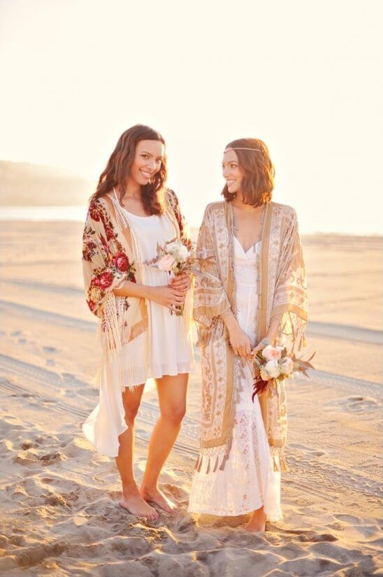 Cool Bridal Cover ups - The Boho Kimono. It may be summer but when the evening cools you're going to want to cover up in style. Check out these real brides who did it in their own unique way!