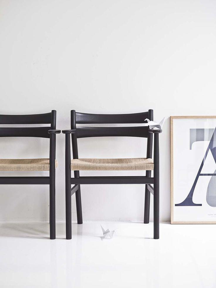 BM2 Chair by dk3. #Børge #Mogensen #BM2 #Chair #dk3 #Blackstained #Oak #Natural #Paper #Cordel #Danish #Design #Furniture www.dk3.dk