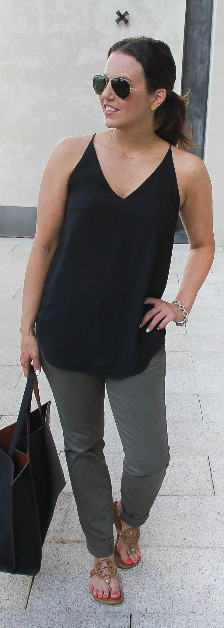 Casual Summer Outfit | Black Cami | Olive Pants | Lady in Violet | Houston Fashion Blog