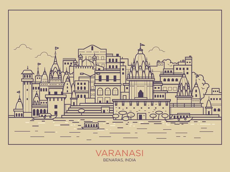 The skyline of the Holy city of Varanasi (Benaras) in a flat minimal style.