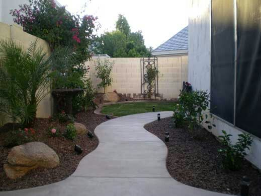 Superb Curvy Sidewalk With Mounding And Plants Dress Up A Boring Side Yard In  Chandler Arizona. Find This Pin And More On Phoenix Arizona Backyard  Landscaping ...