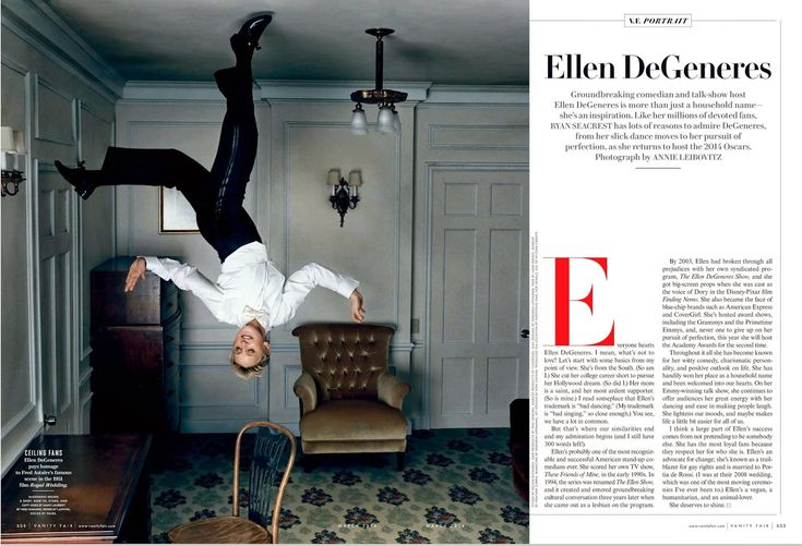 Ellen DeGeneres pays homage to Fred Astaire's famous scene in the 1951 film Royal Wedding. Photography by Annie Leibovitz for Vanity Fair's March 2014 issue.