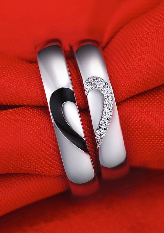 Unique Half Heart Wedding Rings Set for Women and Men, Matching Black Baking + White Diamond Accents Couple Promise Rings, Cheap Wedding Bands in Sterling Silver, Matching Cute Love Jewelry Set for Boyfriend and Girlfriend @ http://iDream-Jewelry.Com