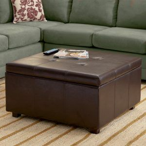 Riverside Saxon Faux Leather Large Cocktail Storage Ottoman Coffee Table