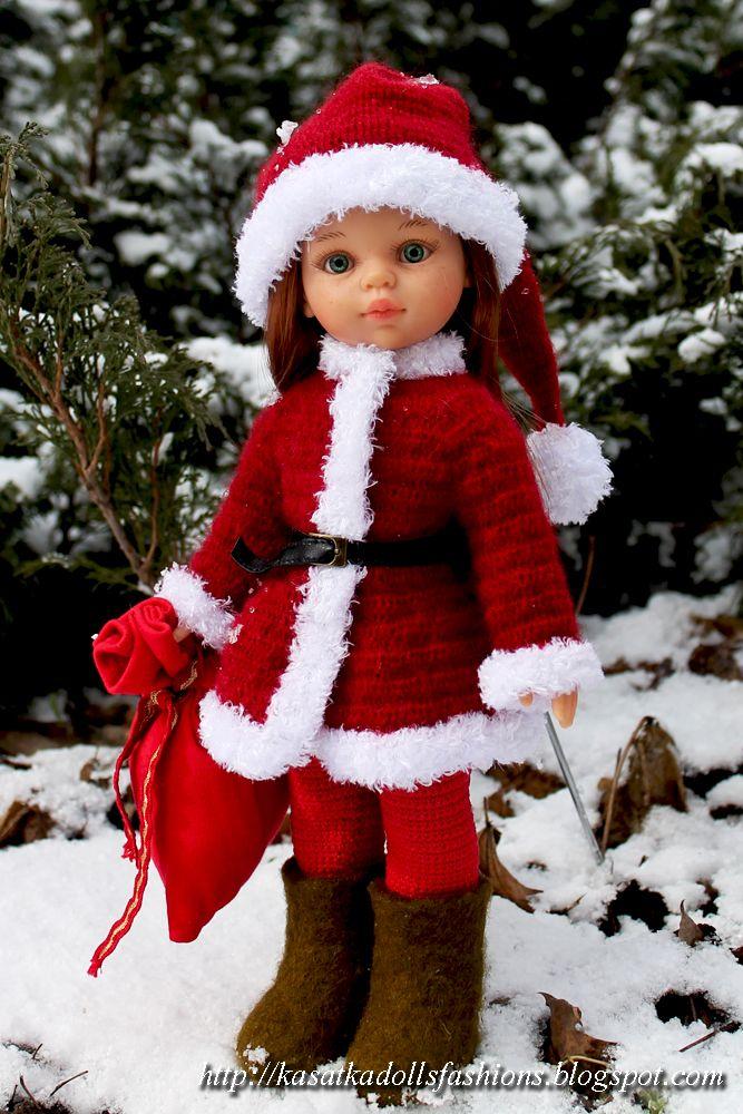 Наряд Санты или Деда Мороза для кукол Паола Рейна (Paola Reina): как связать крючком колпак и шубу для куклы, комбинезон крючком для кукол