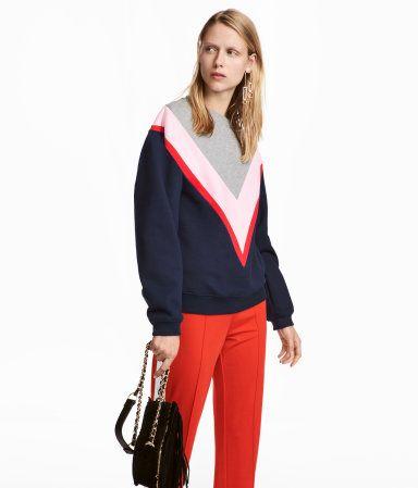 Color-block Sweatshirt | Gray/purple | WOMEN | H&M US