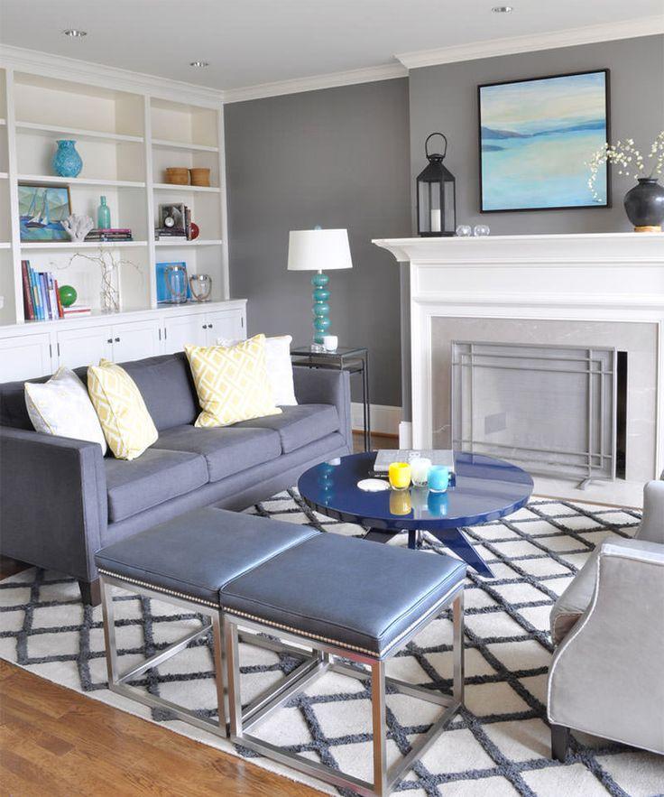Sala De Estar Cinza E Turquesa ~  sala cinza azulada sala cinza cozinhas salas de estar amarelas salas
