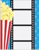 Un Fondo Cinematográfico, Con Palomitas De Maíz En Una Caja De Cartón Rojo A Rayas Y Una Tira De Película Vertical, Sobre Un Fondo Azul. Fotos, Retratos, Imágenes Y Fotografía De Archivo Libres De Derecho. Image 12179263.