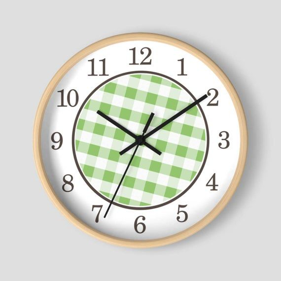 Green Gingham Wall Clock Pattern In Green And White With Wood Frame 10 Inch Round Clock Made To Order Wallclock Cl Wall Clock Clock Wall Clock Design