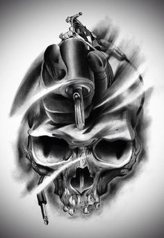 Skull & tattoo gun
